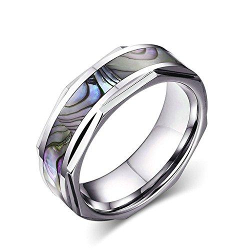 alimab gioielli anelli da uomo in tungsteno Fedi Smooth Abalone, tungsteno, 13,5, colore: argento, cod. BWNSXDE2288