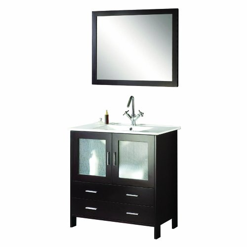 Virtu USA MS-313 Felice 36-Inch Single Sink Bathroom Vanity  White Stone Countertop with Integrated Basin, Chrome Faucet and Mirror, Espresso Finish