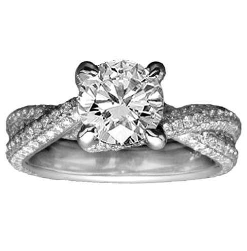 2.58 CT TW Pave Set Round Diamond Braided Engagement