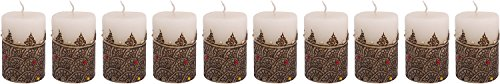 "Craftandcreations Set Of 10 Wax Henna Art Work Candles (2""x3"" White)"