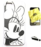 BUKIT CELL Disney Minnie Mouse Flexible TPU SKIN Protector Case Cover (Minnie Sketch) for Apple iPhone 5 / 5G (Fits any carrier) + Bukit Cell Trademark Lint Cleaning Cloth + Metallic Detachable Touch Screen STYLUS PEN with Anti Dust Plug