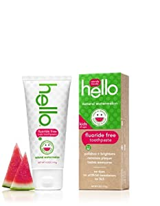 Hello Oral Care Kids Fluoride Free Toothpaste, Natural Watermelon, 4.2 Ounce (Pack Of 4)