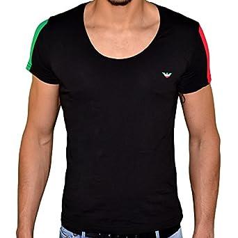 Emporio Armani - Tee Shirt Manches Courtes - Homme - 4p510 - Col Maxi V - Noir Italia - L