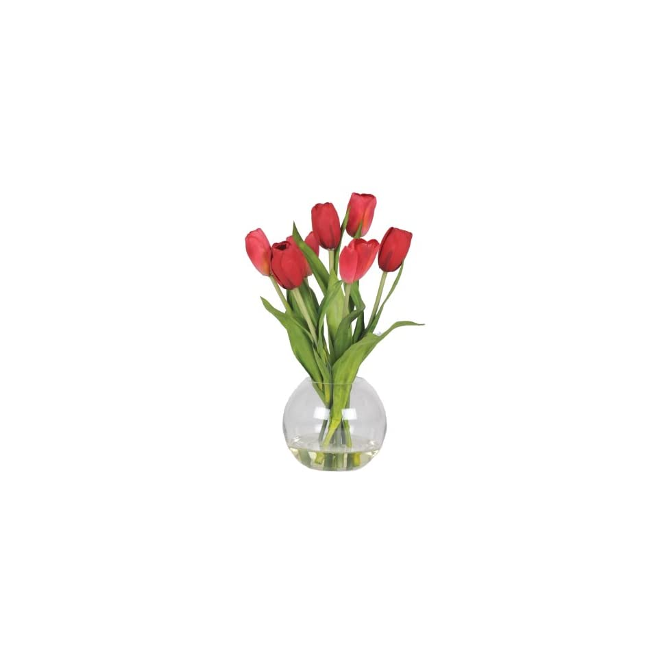 House of Silk Flowers Artificial Red Tulips in Glass Vase
