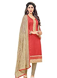 M Fab Ethnic Printed And Embroidered Emblished Red And Gray Chanderi Cotton Free Size Straight Chudidar Salvar Suit Dress Material