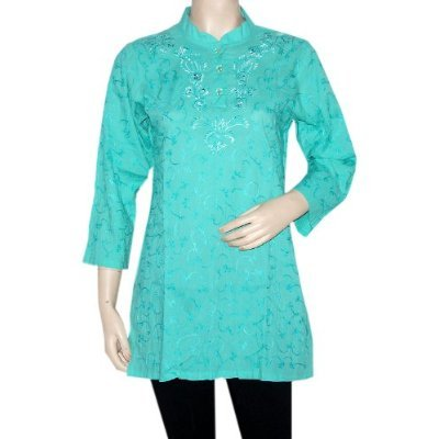Latest Fashion Valentine Gift Rajrang India Pins Tucks Embroidery Cotton Yoga Kurti Tunic Top Blouse