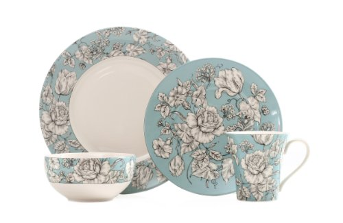 222 Fifth 16-Piece Dinnerware Set, Country Toile, Service for 4