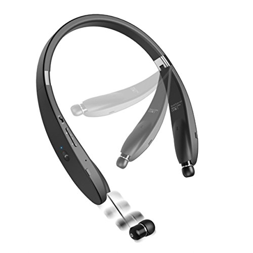 Neckband Hi-Fi Wireless Bluetooth Headset w Retractable Earbuds Hands-free Mic for iPhone 7, 6 6S Plus, 5S 5C SE - Samsung Galaxy S7, S6, Edge, Edge+, S5, S4 Galaxy Note 7 5 4 3 2 - LG G2 G3 G4 G5 V10