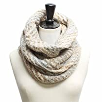 Luxury Divas Beige Gray & Brown Cowl Chunky Knit Infinity Neck Warmer Scarf