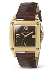 Autograph Rectangular Face Analogue Strap Watch