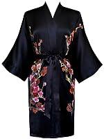 Old Shanghai Women's Silk Kimono Short Robe - Handpainted