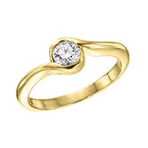 IGI Certified 14k yellow-gold Round Cut Diamond Engagement Ring (0.30 cttw, J Color, VS2 Clarity) - size 6