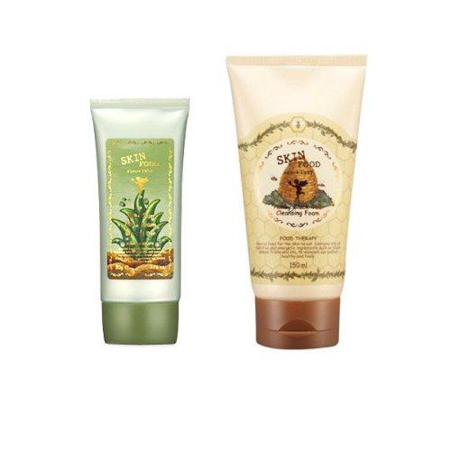 Korean Cosmetics, Skinfood, Aloe Sun Bb Cream Spf20/Pa+ No.2 & Honey Black Tea Cleansing Foam Set