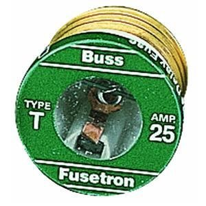 Bussmann T-6-1/4BC 6-1/4 Amp Type T Time-Delay Dual-Element Edison Base Plug Fuse, 125V UL Listed 1-In Bag