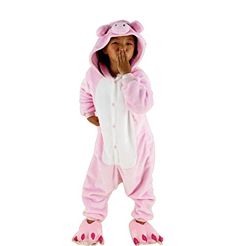 [Datangep Children's Animal Onesie Cosplay Costume Sleepwear Pajamas Pink Pig M] (One Night Stand Costume For Girls)