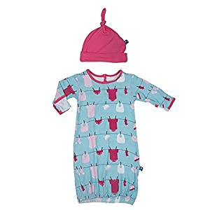 KicKee Pants Layette Gown and Knot Hat Set (3-6 Months, Glacler Baby)