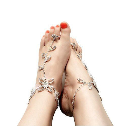 Great Features Of EIGA Crystal Bride Ankle Bracelet Crochet Anklets for Women Barefoot Sandals Beach...