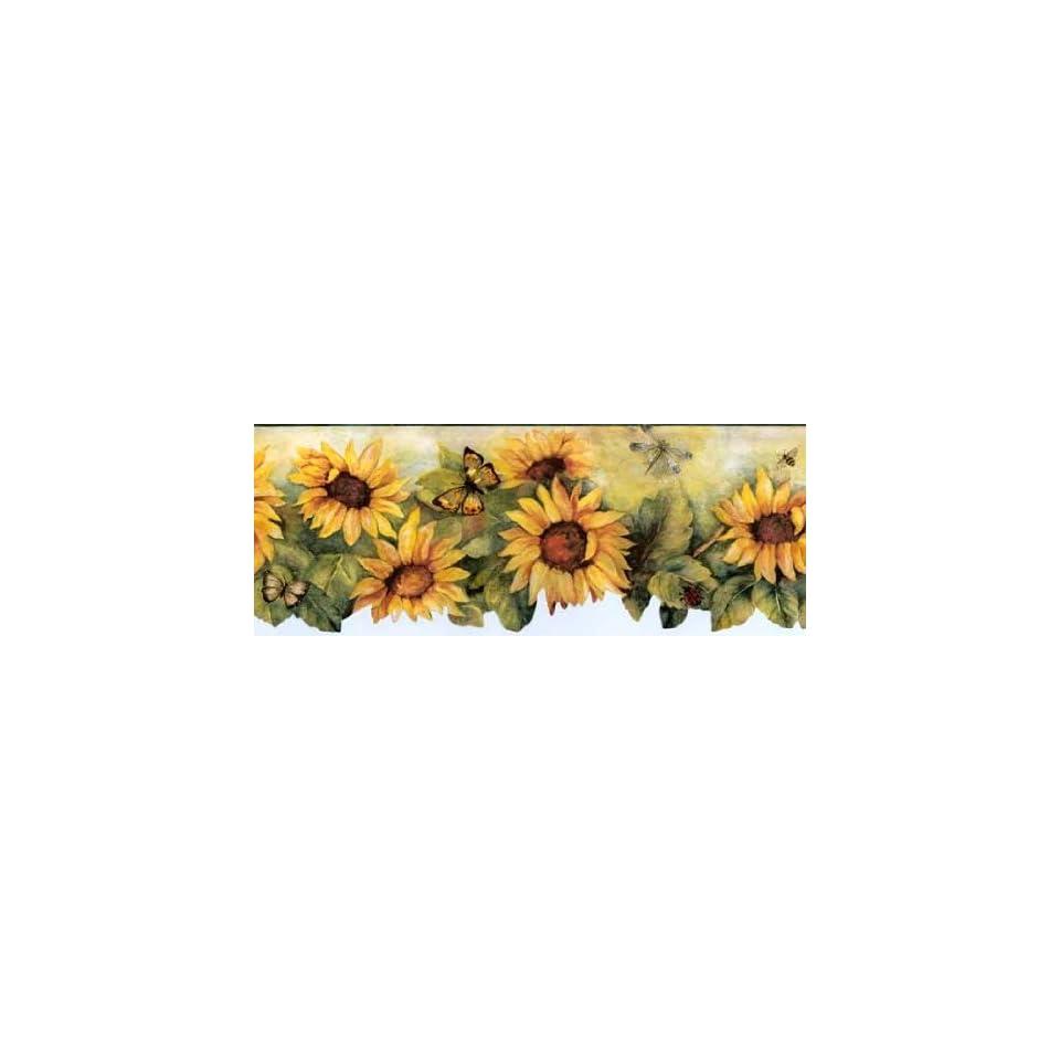Die Cut Green Sunflower Wallpaper Border