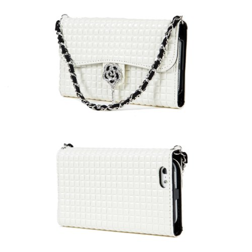Great Sale TORU iHand Handbag Clutch Wallet Case with Bling for iPhone 5 / 5S - Ivory
