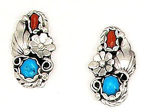 BY Navajo Artist Ida McCray: Hand crafted sterling silver turquoise and Coral Clip on earrings