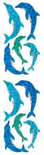Jillson Roberts Prismatic Stickers, Dolphins, 12-Sheet Count (S7014)