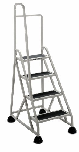 Cramer 1041L-19 Stop-Step Ladder 4 Steps with Left Handrail 36-inch High Top Step, Beige