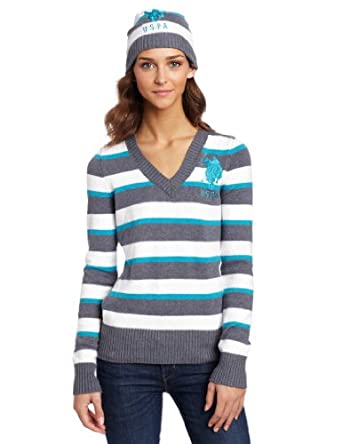 US Polo Assn. Juniors Striped Sweater, Teal Sequin, Small