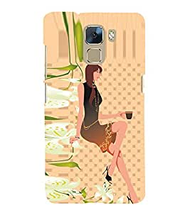 Coffee Girl Fashion Sitting 3D Hard Polycarbonate Designer Back Case Cover for Huawei Honor 7