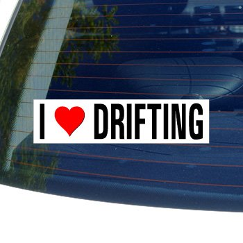 I Love Heart DRIFTING Window Bumper Sticker