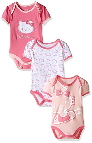Hello Kitty Baby Girls' Multi Pack Bodysuits, Pink Carnation, 24 Months