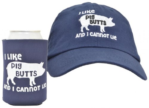 I Like Pig Butts 2-Piece Hat Cap And Coolie Gift Set Bundle Navy