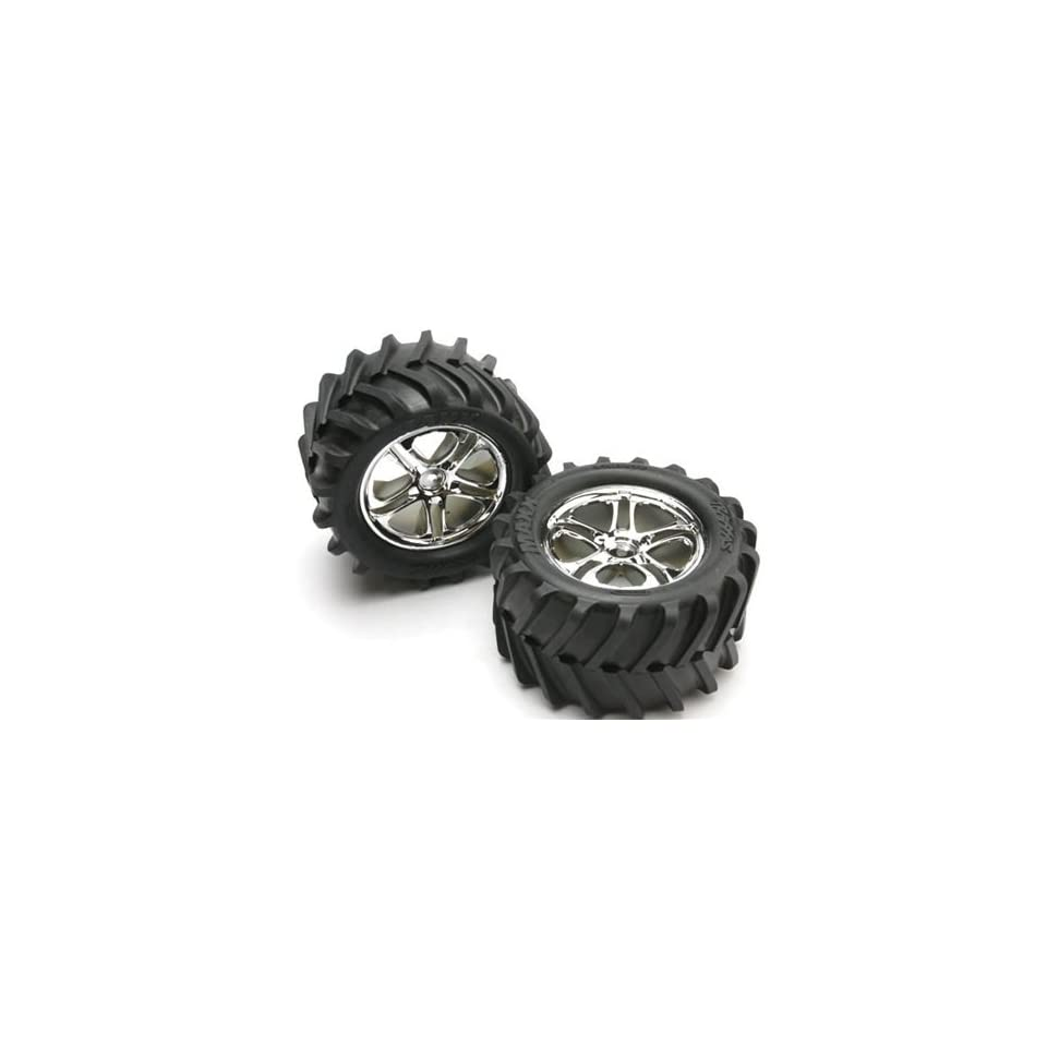 Traxxas TRA5173 Maxx Tires Split Spoke Chrome Wheels Foam