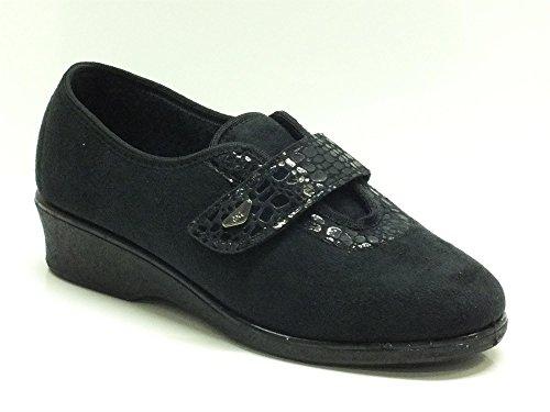 Pantofole-Scarpe Melluso per donna in tessuto nero (Taglia 39)