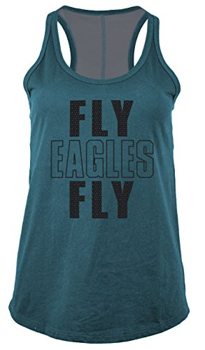 NFL Philadelphia Eagles Women's Baby Jersey Racer Back Tank Top with Contrasting Colors, Medium, Teal