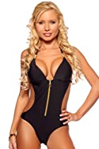 Sexy Halter Monokini Open Back Zipper monokini Swimsuit, Medium, Black Night