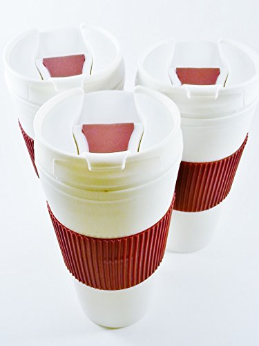 Travel Coffee Tea Cups With Flip Lids Plastic White With Red Sleeve Set Of 3 Mugs 16 Ounce