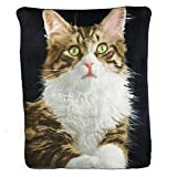 Natrual Instinct Photographic Printed Fleece Throw Blanket- Tabby Cat