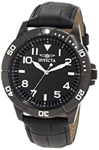 (专业)Invicta 11430专业黑色表盘黑色皮带男士手表 $60.25