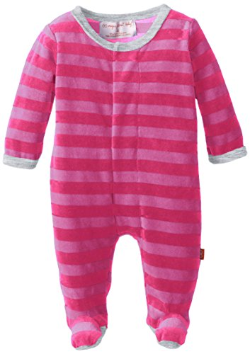 Magnificent Baby Baby-Girls Infant Velour Footie With Applique, Hot Pink/Berry, 6 Months