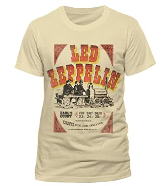 Official T Shirt LED ZEPPELIN Beige EARLS COURT TICKETS Vintage XXL