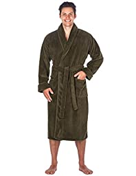 Mens Premium Coral Fleece Plush Spa/Bath Robe - Olive -Small/Medium
