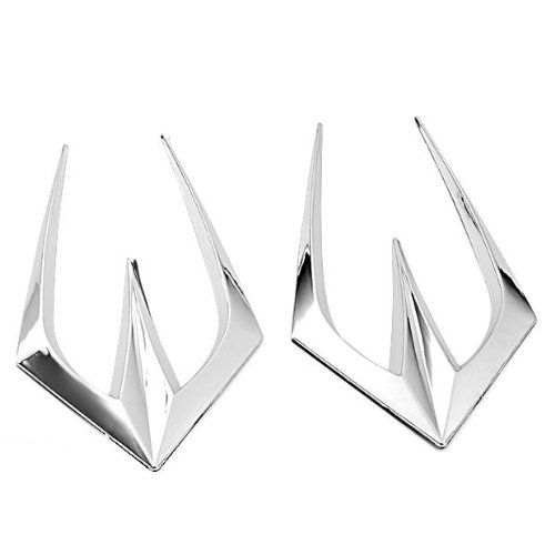 Brand New Chrome Plated Finished Air Flew Intake Side Vent Hood Bonnet Stick-On Fender Bumper Cover W/3M Adhesive Tape 2Pcs front-258487