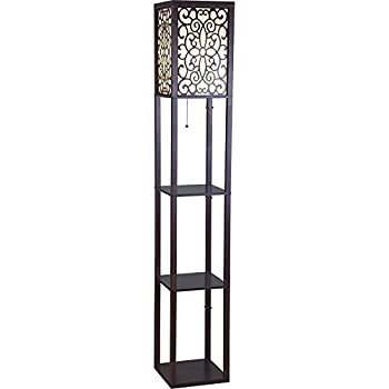 "SH Lighting 6958BR-A 63""H Wooden Shelf Floor Lamp with Floral Shade Panels, Brown"