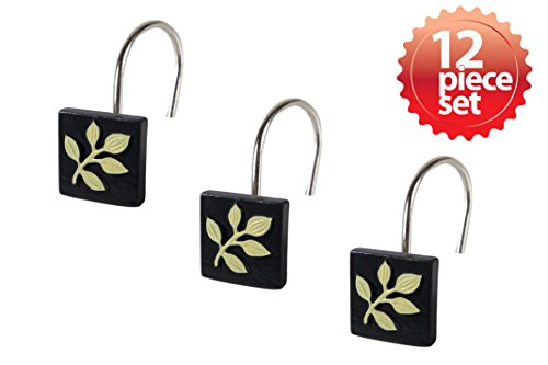 Stylish Decorative Yellow Leaf Print Black Hand Crafted Ceramic Polished Chrome Metal Shower Hook Curtain 12 piece set (Leaf Shower Curtain Hooks compare prices)