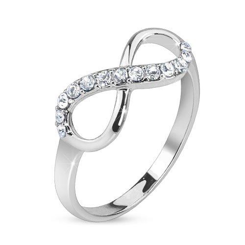 bungsa® Anello infinity argento simbolo dell' infinito simbolo in acciaio inox Sottilo misure 49-60(ad anello da donna partner Anelli Fidanzamento anelli TRAURINGE anello da donna Anello in acciaio inox acciaio chirurgico), ottone, 49 (15.6), colore: argento, cod. 2091