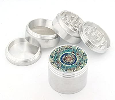 "Blue Mandala 4 Piece Silver Aluminum Metal Herb Grinder 1.5"" 42mm Small Grinders Cute Pattern"