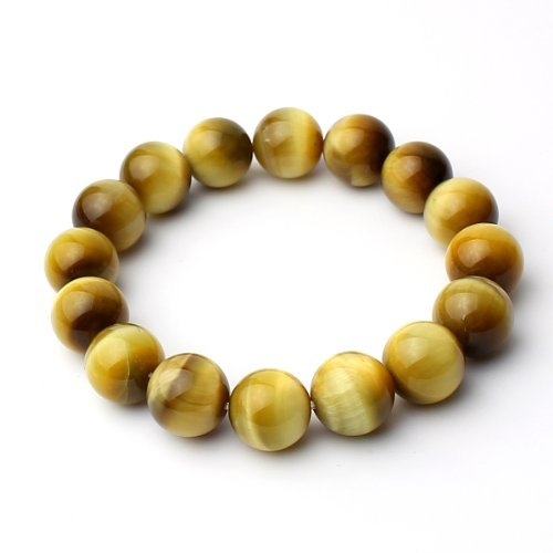 O-stone Natural Golden Tiger Eye Bracelet 12mm Meditation Mala Grounding Stone Protection