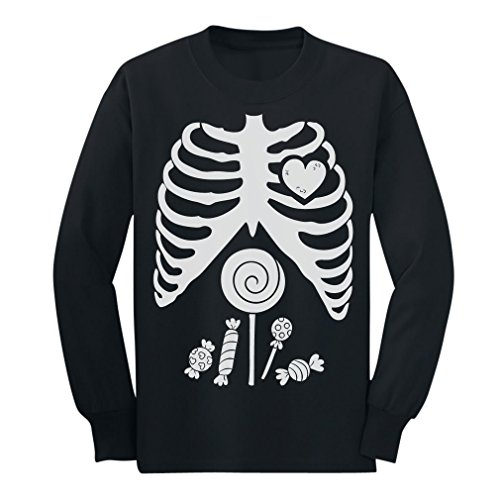 Children Skeleton Candy Rib-cage X-Ray Halloween Funny Long sleeve kids T-Shirt