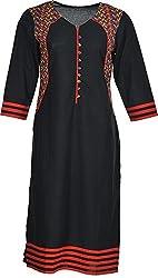 Artisan Women's Cotton Straight Kurta (CZF10023_M, Black, M)