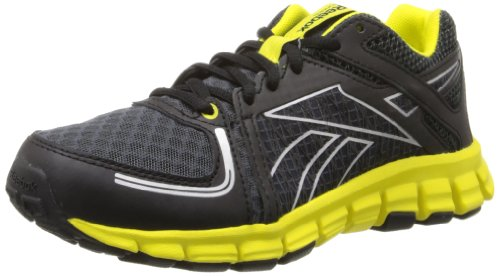Reebok Smoothflex Flyer Running Shoe (Little Kid/Big Kid),Black/Gravel/Ultimate Yellow/Silver,7 M Us Big Kid front-980501